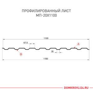 Размеры профлиста МП-20