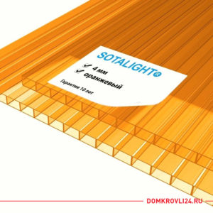 Сотовый поликарбонат Sotalight цвет оранжевый